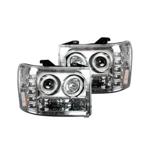 GMC Sierra 07-13 (2nd GEN) PROJECTOR HEADLIGHTS w/ Ultra High Power Smooth OLED HALOS & DRL - Clear / Chrome